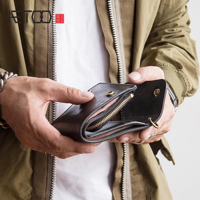 AETOO skóry wołowej portfel mężczyzna retro proste pieniądze klip można umieścić prawo jazdy moda bilet klip w Portfele od Bagaże i torby na  Grupa 1