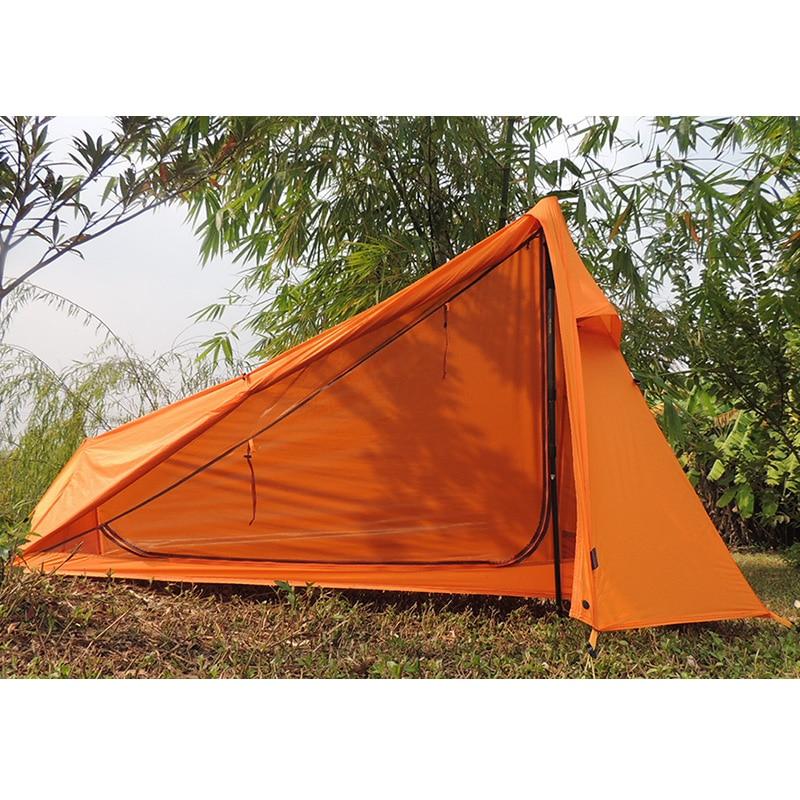 480G Oudoor Ultralight Camping Tent 1 Single Person 20D Nylon Silicon Coating Rodless Tents barraca de acampamento carpa 995g camping inner tent ultralight 3 4 person outdoor 20d nylon sides silicon coating rodless pyramid large tent campin 3 season