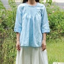 Женская однотонная блузка с рукавом три четверти, Женская Ретро Милая рубашка, пуловеры, топы, женские летние рубашки