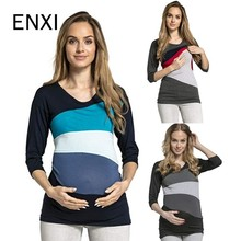 ENXI Breastfeeding Pregnancy Maternity Clothes patchwork Maternity Tops/T-shirt Fashion Shirt Nursing Tops For Pregnant Women