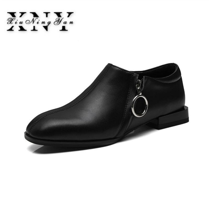XIUNINGYAN Women Flats New British Style Oxford Shoes Woman Spring Soft Leather Casual Shoes Retro Zipper Flat Shoes for Lady british style men real leather brouge shoes boys new spring zip retro casual shoes craved wing tips flat man oxfords