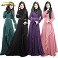 As mulheres Muçulmanas Vestido Outono Inverno Vestido Maxi Manga Longa Nacional Do Paquistão Roupas Bodycon Vestidos Maxi Senhoras Vestido Zíper de Volta