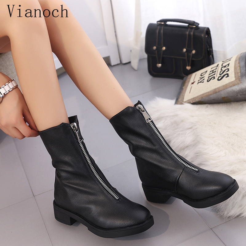 2018 New Fashion Womens Mid Calf Boots Black Autumn Spring Casual Flats Shoe Lady aa1023