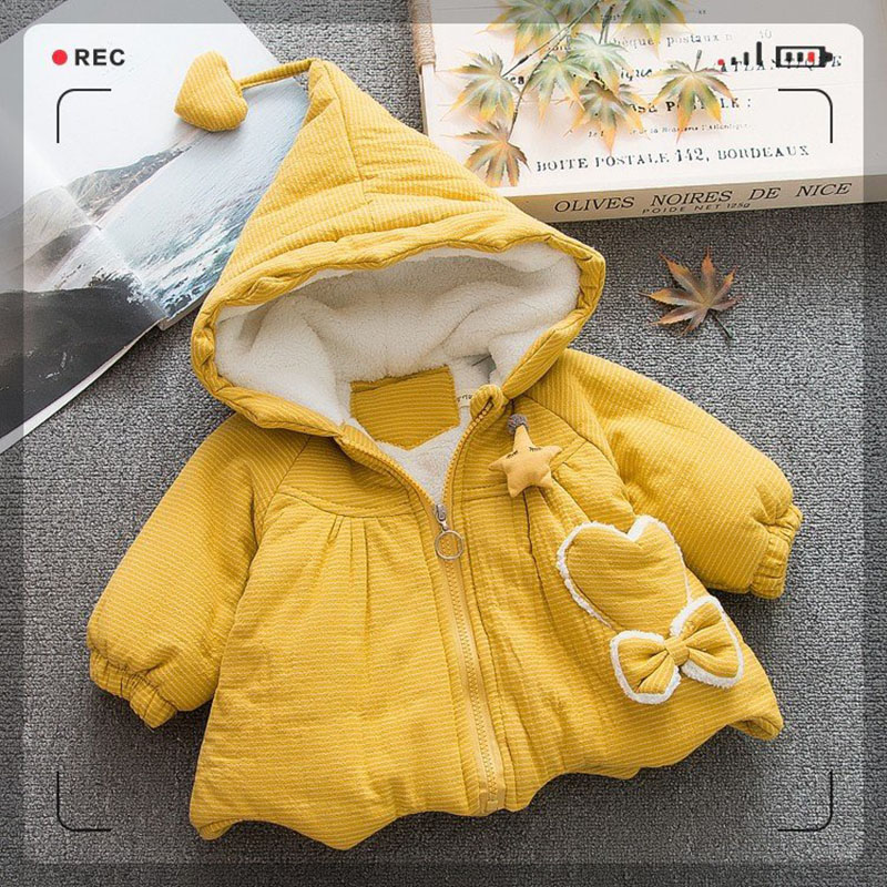Winter Baby Girls clothes Hooded cartoon Warm Jackets Princess Party Coats Kids Children's Outerwear(China)