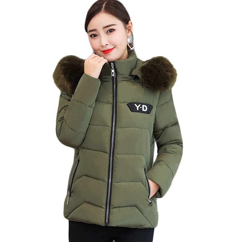 Short Fur Collar Winter Jacket Women Autumn Cotton padded Solid Color Women Parka With Hood high Quality Female Coat 2018 CM1037