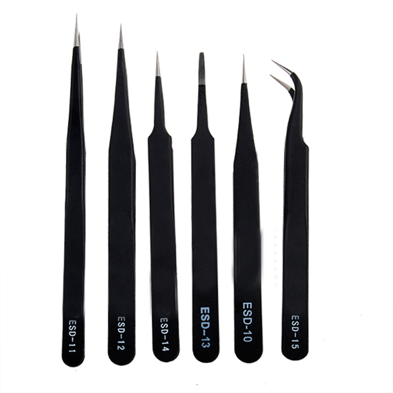 6Pcs Anti-Static Different Size ESD Tweezers <font><b>ESD10</b></font> to ESD15 New image