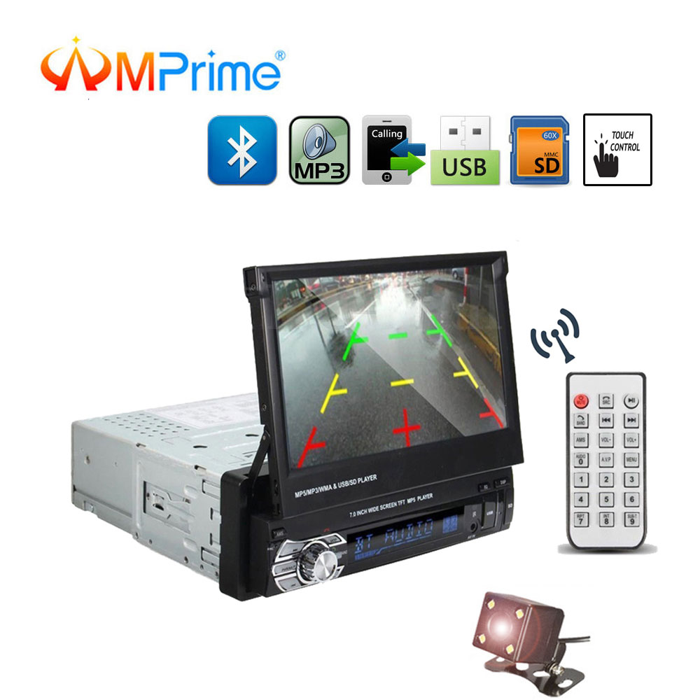 AMPrime 1DIN 7 HD Car Radio Retractable Touch Screen Bluetooth DVD MP5 SD FM USB Stereo Audio Player Support Rear View Camera