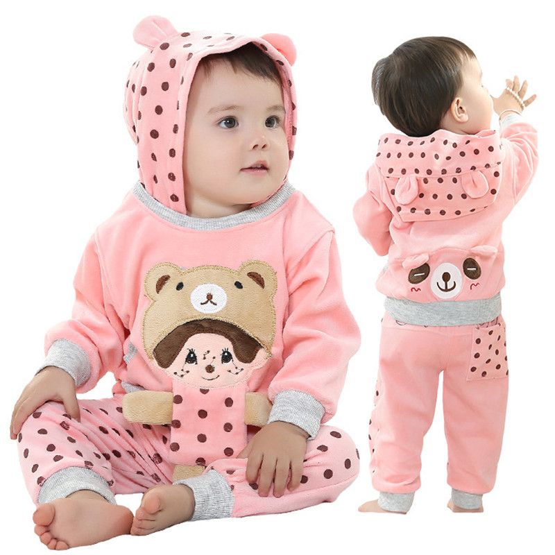 Anlencool Free shipping children suit velvet suit models Novelty girls clothing sets Female baby spring clothes suit baby set