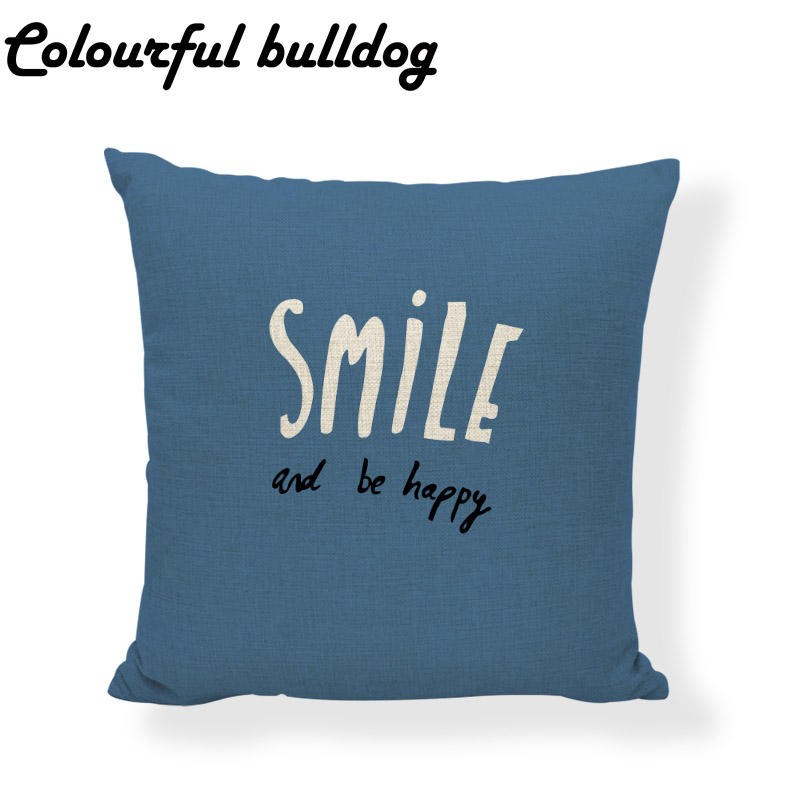 Lovely Gentleman Cushion Cover Letter Smile and Be Happy 45*45 cm Square Red Bus Children Office Couch Home Decorate Pillowcase