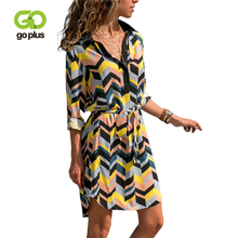 GOPLUS Summer Shirt Dress Womens Vintage Boho Beach V-Neck Striped Full Sleeve Mini Chiffon Dresses Print A-Line