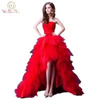 100 Real Image Luxury Red Evening Dresses Short Front Long Back 2016 High Quality Strapless Floral