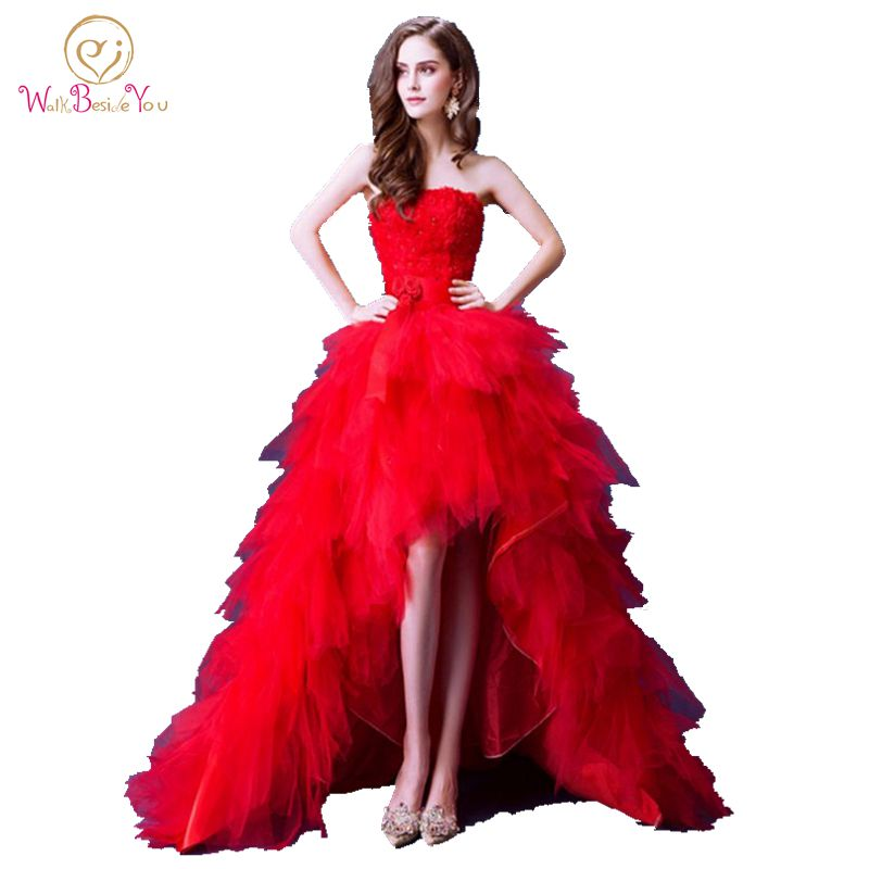 100% Real Image Luxury Red   Evening     Dresses   Short Front Long Back 2018 Tiered Tulle Strapless Floral Lace Prom Gowns