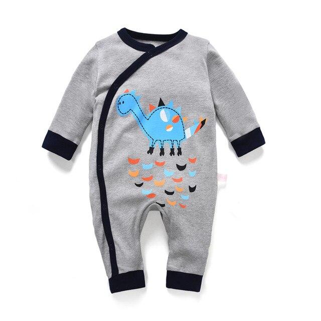 0f0ee2c06 Recém-nascidos macacão de bebê menino para menina manga longa primavera  pijama dinossauro verão macacão