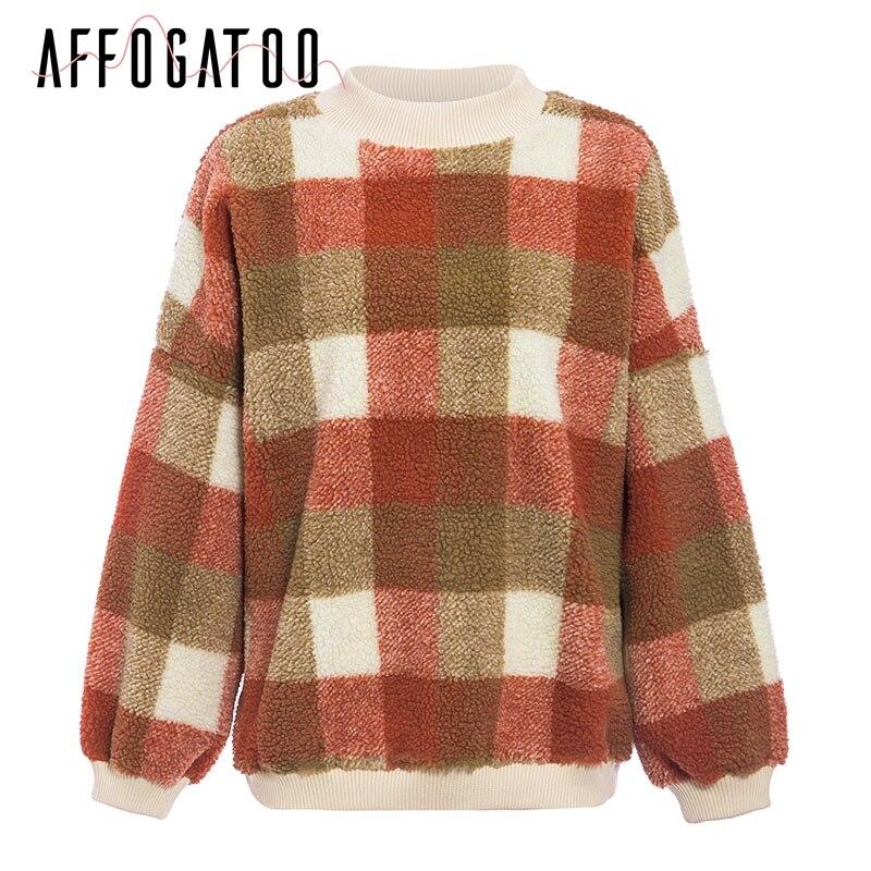 Affogatoo Casual O neck plaid lambswool hoodies sweatshirt women Vintage loose pullover sweatshirt Autumn winter ladies coats 6