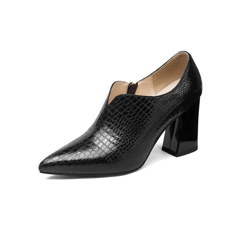 2018 Femme Cuir Talons Colors Chaussures Éclair Mode Nouvelle Pointu De Bout Femmes Haute noir Pompes Véritable Partie Carré Fermeture Arrivée En Gun Morazora dq0Zzd
