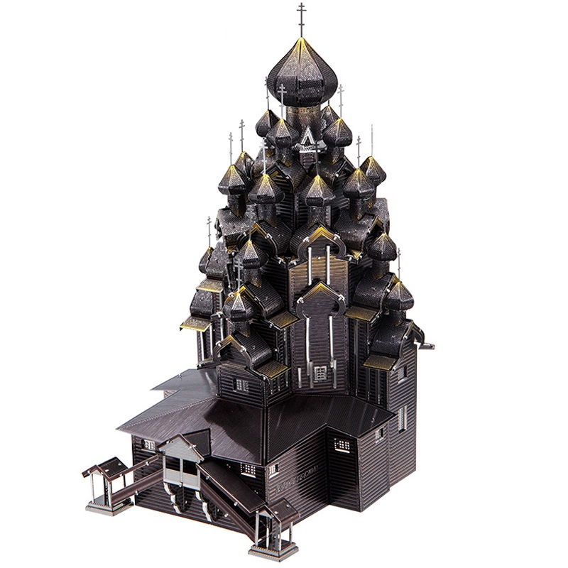 Piececool DIY 3D Metal Puzzel Toy Simulation Russia Kizhi Church Of The Transfiguration Model Kit Kids Toys  Adult