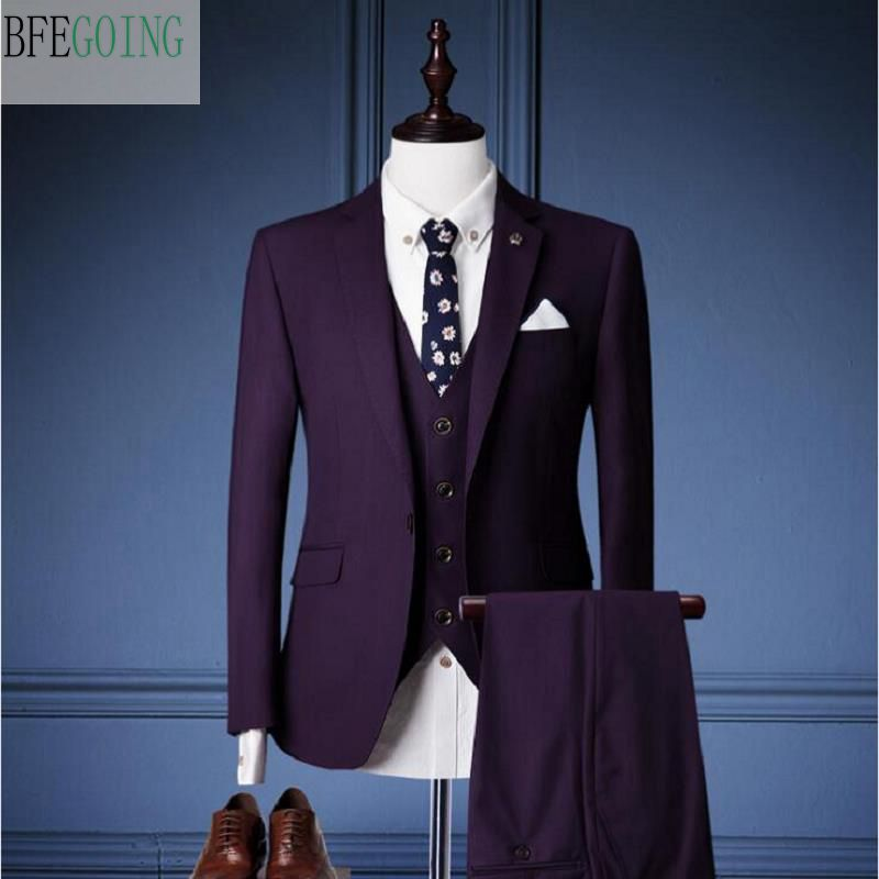 Purple Regular Bridegroom Tuxedos Single Breasted Groom Suit+ Vest +Pants + For Wedding /Evening Party