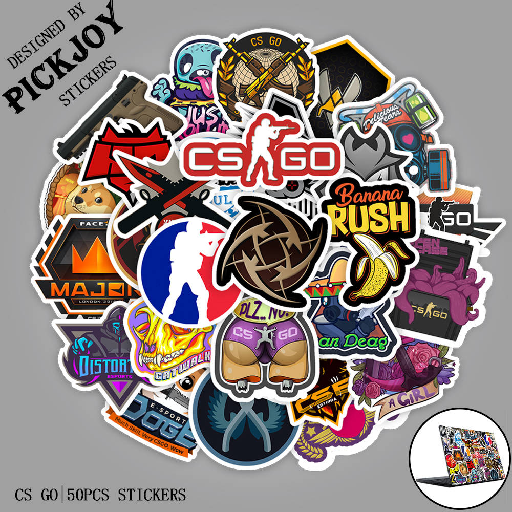 50pcs/Pack CS GO Game Stickers For Car Laptop Luggage Computer Bicycle Phone Case Skateboard Pad Waterproof Kids Decal
