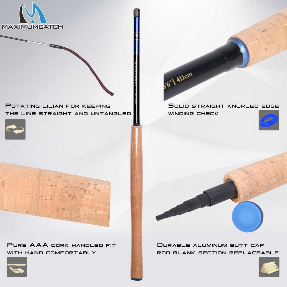 Maxcatch Tenkara Fly Rod Combo & Accessory Complete Kit Fishing Leader Line Flies Carry Case 12'/13/13'6''