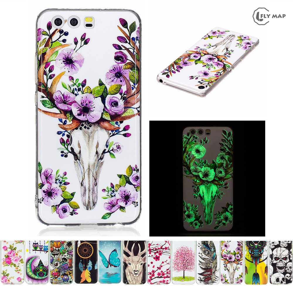 Luminous TPU Case for Huawei P10 VTR-L29 VTR-L09 VTR-AL00 Soft Silicone Floral Protect C ...