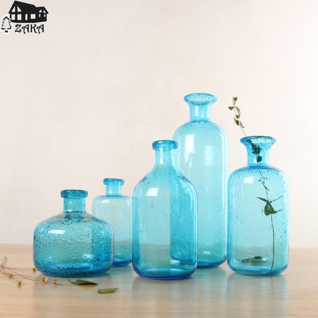 1pcs New Keyama Nordic Marine Style Blue Bubble Glass Vases Hand