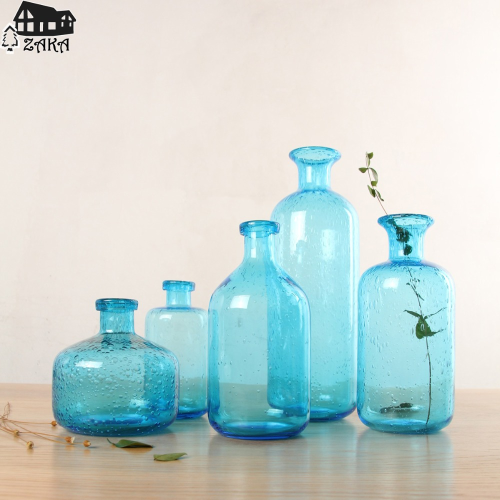 1Pcs New KEYAMA Nordic marine style blue bubble glass vases Hand-blown flower vases bedroom table vase Simple Home Decoration