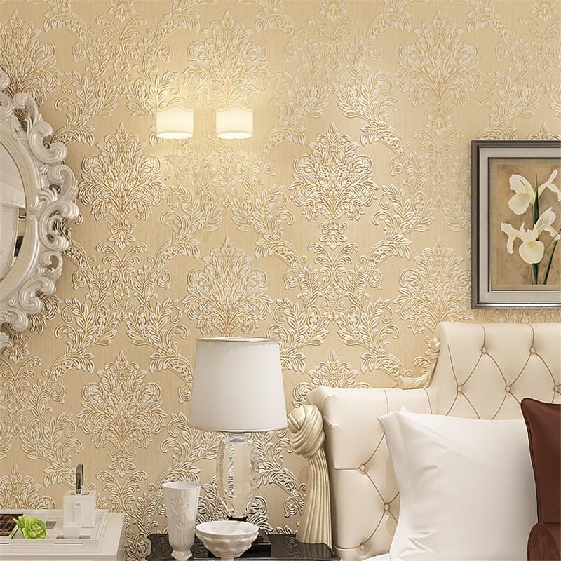 Beibehang 3d wallpaper 3D Stereo Relief Damascu Nonwoven wallpaper roll Background Living Room Bedroom European Wallpaper