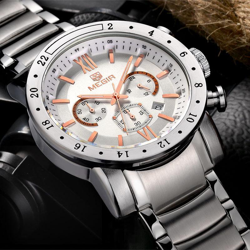 MEGIR roestvrij staal lichtgevende herenhorloges Top luxe merk - Herenhorloges - Foto 6