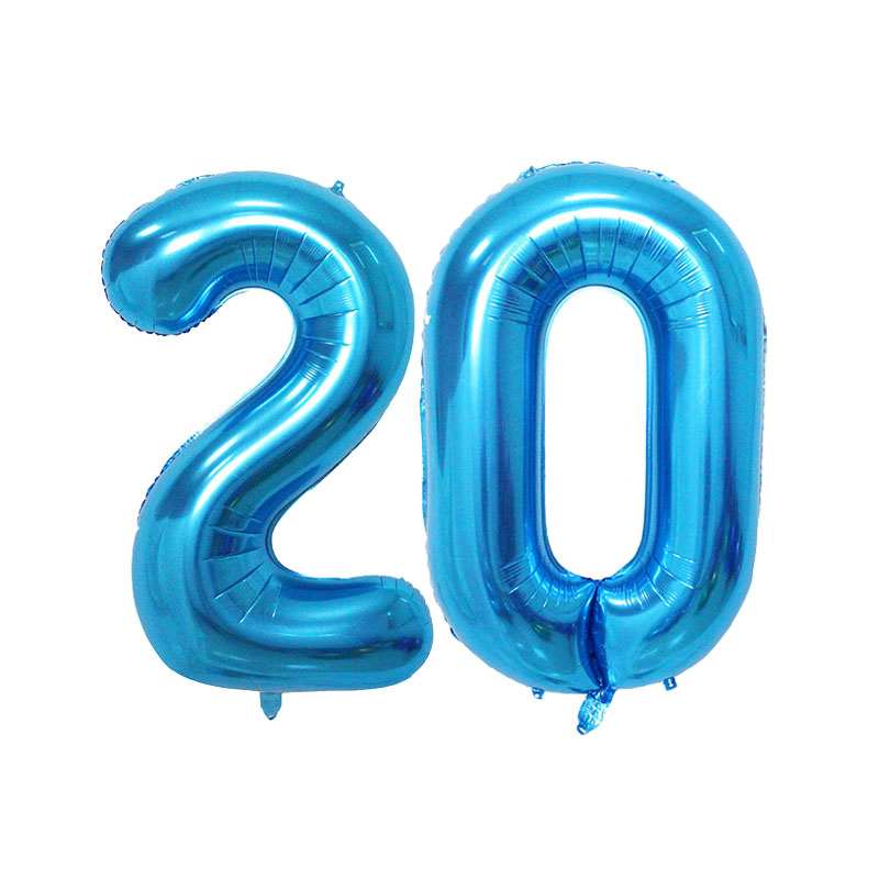 40 Inch Pink Blue Gold Silver Number Foil Balloons <font><b>20TH</b></font> <font><b>Birthday</b></font> Party <font><b>Decorations</b></font> Digtal Air Balloons Event Party Suppliers image