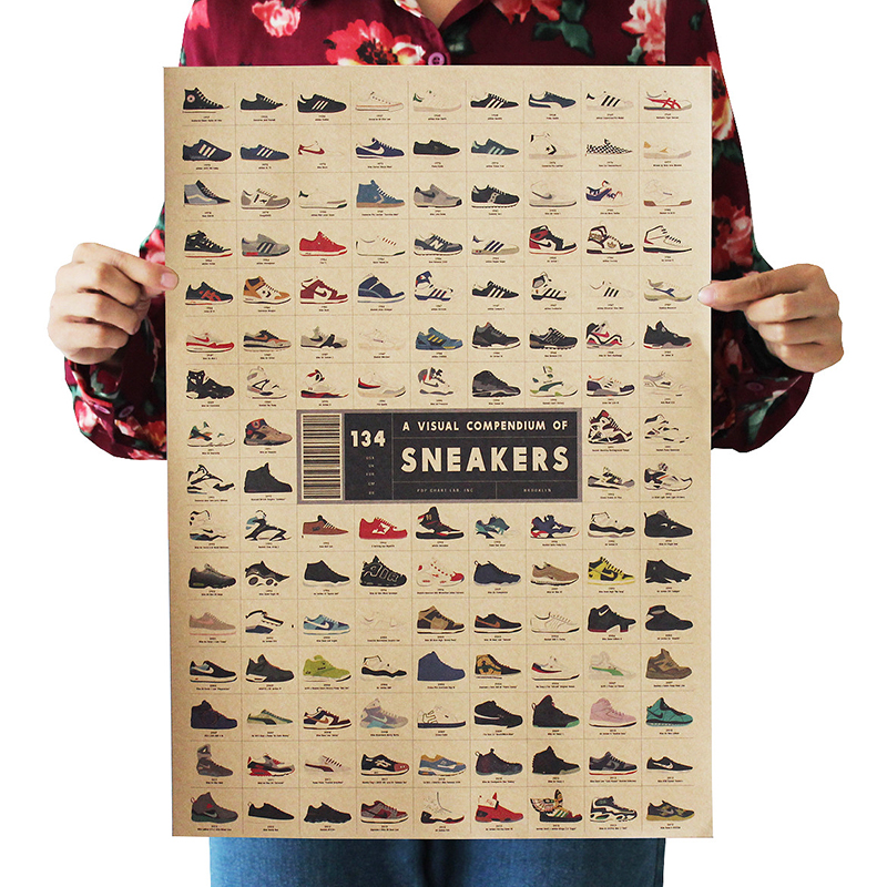 Classic Poster Sneakers Collection Nostalgic Vintage Kraft Paper Dorm Room Bars Cafe Retro Decorative Wall Sticker 51.5x36cm