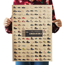 Classic Poster Sneakers Collection Nostalgic Vintage Kraft Paper Dorm Room Bars Cafe Retro Decorative Wall Sticker 51.5x36cm(China)