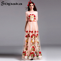 Lace Mesh Rose Floral Embroidery Sashes Slim Black Pink Runway Designer Maxi Women Dress High