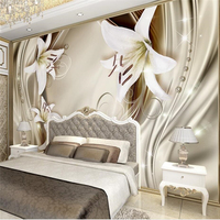 Custom Photo Wallpaper Mural House Decorative Gold 3d Stereo Lily Silk Pattern TV Background Wall Living