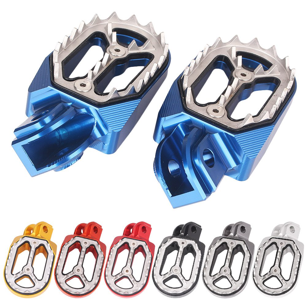 Sharp Teeth Dirt Bike Racing Foot Pegs Footrests For KTM Husqvarna 85cc-530cc All 2005 2006 2007 2008 2009 2010 - 2015 blue