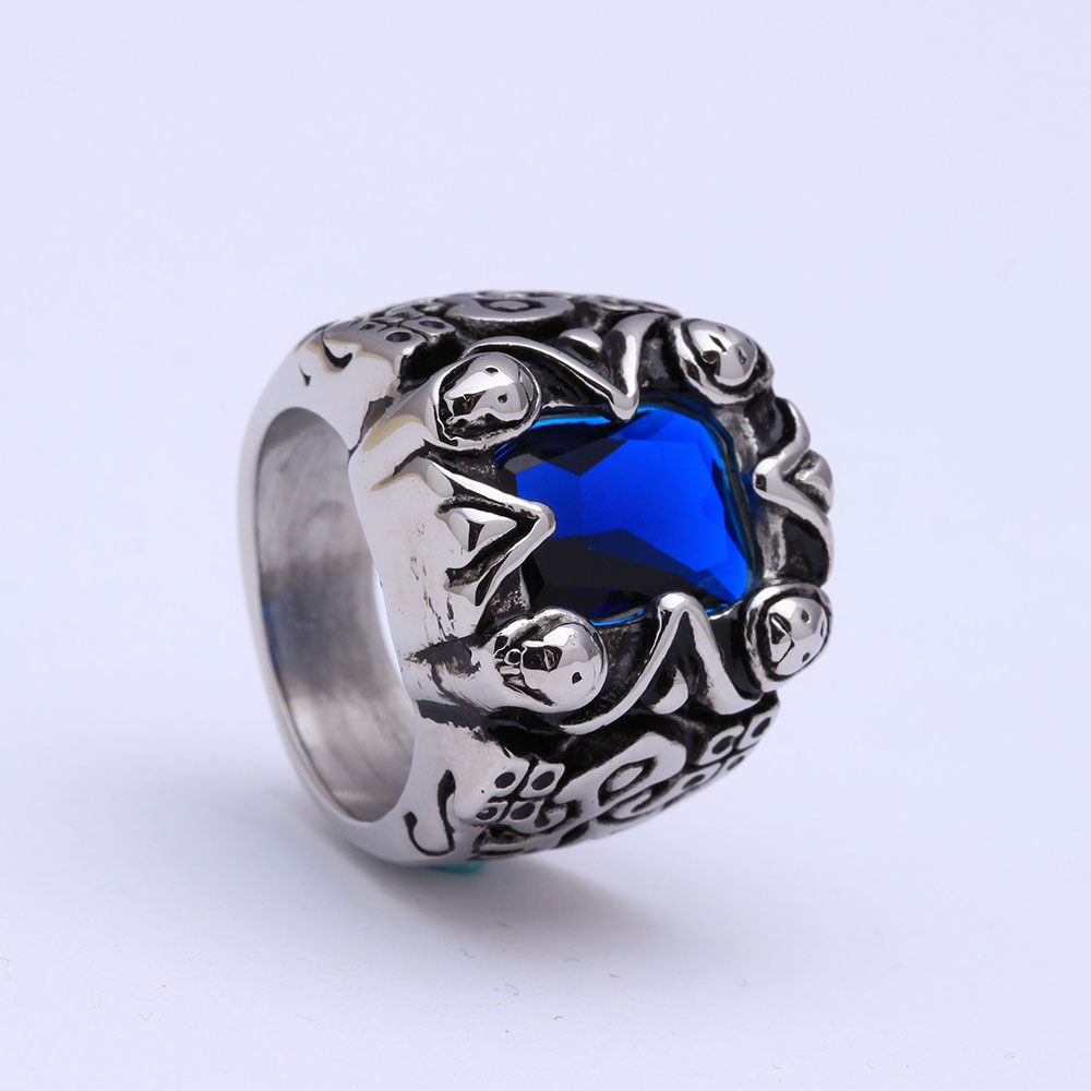 Blue crystal rings large 316l stainless steel ring for men 2016 fashion jewelry factory vintage enagement rings gift wholesale