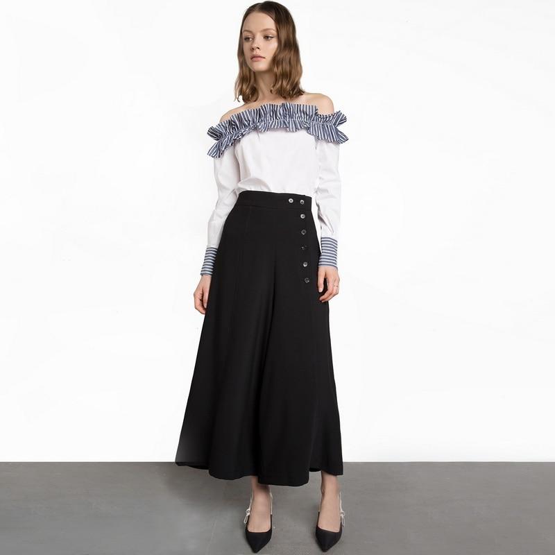 Hodoyi 2018 Autumn High Waist Button Decor Wide Leg Pants Women Black Long Trousers Ladies OL Fashion Casual Workwear Pants