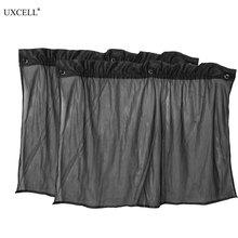 Uxcell 2 Pcs Suction Cup Black Mesh Side Window Curtains Car Sun Shade 75Cm X 45Cm
