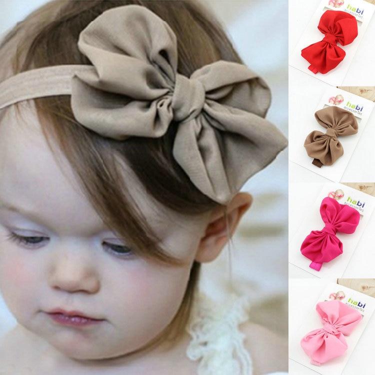 Детская повязка на голову, лента ручной работы, аксессуары для волос для малышей, новорожденных девочек, повязка с бантом Тюрбан-тиара