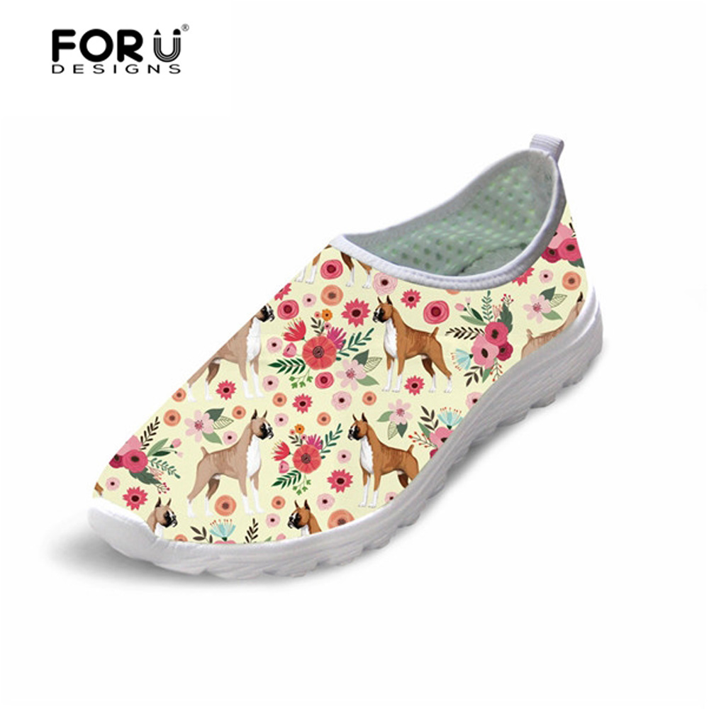 FORUDESIGNS Shoes Flats-Sneakers Flower Air-Mesh Floral Summer Casual Women Cute Dog