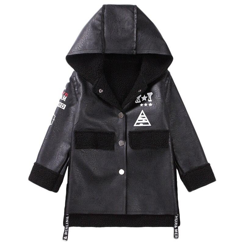 Дети кожаный пиджак для мальчиков утепленные овечьей шерсти шерстяное пальто с капюшоном зимняя детская Водонепроницаемый куртка из искус...