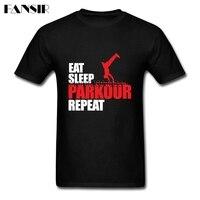 Summer Tee Shirt Men Boy Eat Sleep Parkour Repeat Men Tshirt Custom Cotton Short Sleeve Family