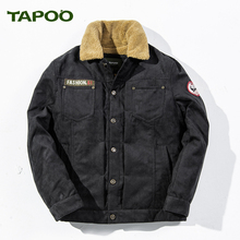 TAPOO Brand Mens Winter Jackets 2017 New Air Force One Military Thick Keep Warm Casual Fur Coat hombre Casual Parkas