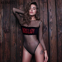 KEENEST Long Sleeves One Piece Patchwork Swimsuit Sexy Thong Perspective Swimwear Women