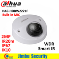 Dahua HDCVI 2-МЕГАПИКСЕЛЬНАЯ WDR ИК Купольная камера HAC-HDBW2221F встроенный МИКРОФОН IP67 IK10 мини CMOS камеры видеонаблюдения мини