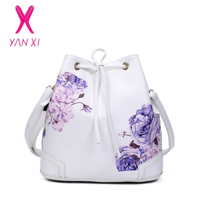 HOT Sale NEW Quality Ladies Bucket PU Leather Printed Flower Shoulder Messenger Luxury Handbags Women Bags Designer Crossbody