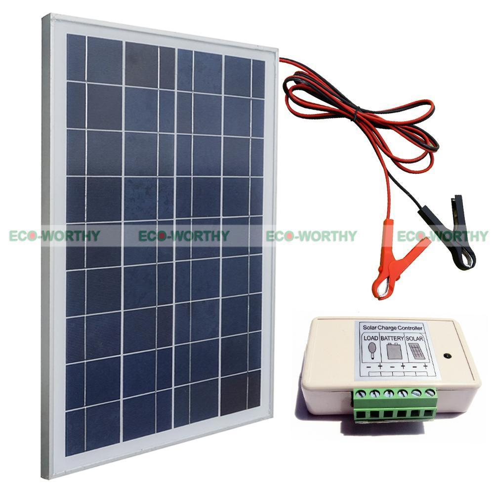 25W Poly Solar Panel Kit W/ High Quality battery clip& 3A controller For Camping