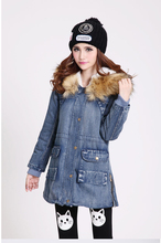 Winter Parka Women Denim Coat Thicken Fur Collar Cotton-Padded Slim Waist Medium-Long Outerwear Winter Jeans Jacket Women H5442