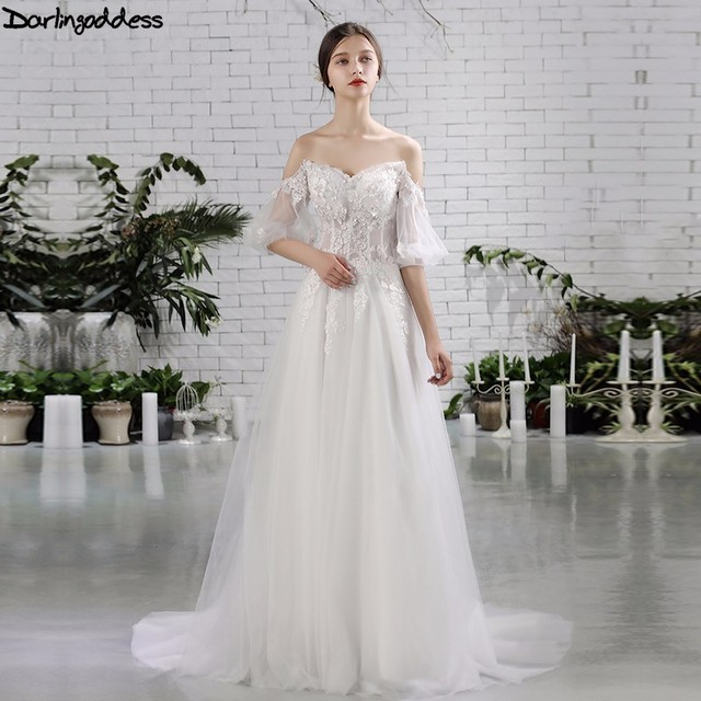 Darlingoddess Luxury Boho Wedding Dresses Off Shoulder Lace Up Half Sleeves Sexy Beach 2017