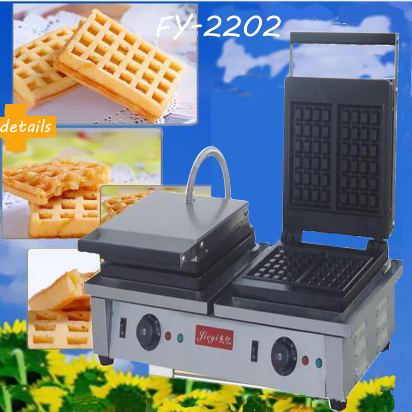 1PC  Electric double-end waffle machine,commercial square waffle machine,waffle grill/ waffle oven/ Snack machine three groups of kebab ovens commercial electric oven machine