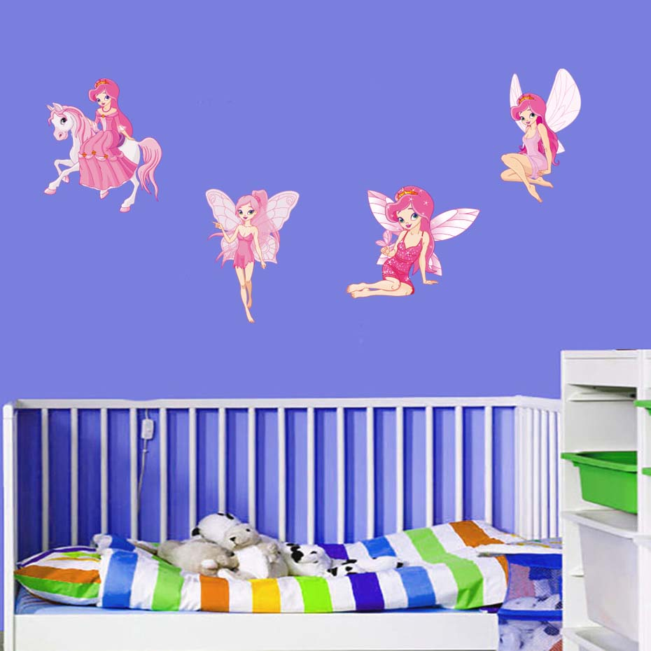 Fairy Princess Batterfly Wall Decals For Girls Baby Bedroom Vinyl Wall Sticker Home Decor Removable Wallpaper For Christmas Gift (6)